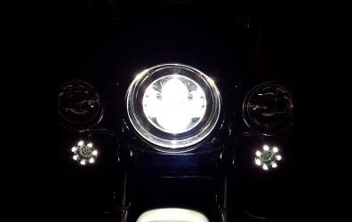 My 2006 Softail Deluxe at night headlight and Turn Signals