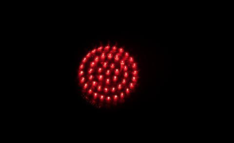 Red Led Turn Cluster at night